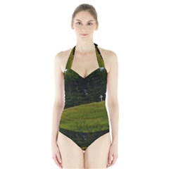 Three Crosses On A Hill Women s Halter One Piece Swimsuit