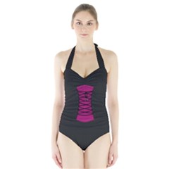 medieval / gothic corsage Women s Halter One Piece Swimsuit