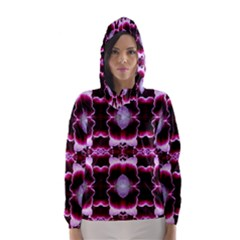 White Burgundy Flower Abstract Hooded Wind Breaker (Women)