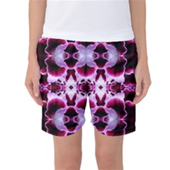 White Burgundy Flower Abstract Women s Basketball Shorts