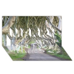 Dark Hedges, Ireland Merry Xmas 3d Greeting Card (8x4)