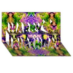 Green,purple Yellow ,goa Pattern Happy Birthday 3D Greeting Card (8x4)