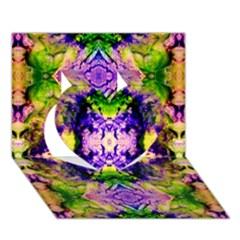 Green,purple Yellow ,goa Pattern Heart 3D Greeting Card (7x5)