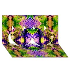Green,purple Yellow ,goa Pattern Twin Hearts 3D Greeting Card (8x4)