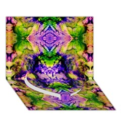 Green,purple Yellow ,goa Pattern Heart Bottom 3d Greeting Card (7x5)
