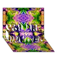 Green,purple Yellow ,goa Pattern You Are Invited 3d Greeting Card (7x5)
