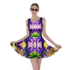 Green,purple Yellow ,goa Pattern Skater Dresses