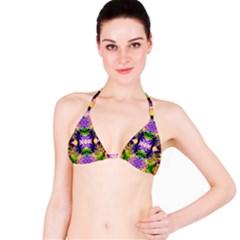 Green,purple Yellow ,goa Pattern Bikini Tops