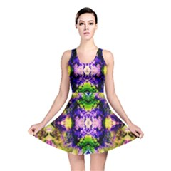 Green,purple Yellow ,goa Pattern Reversible Skater Dresses