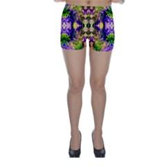Green,purple Yellow ,goa Pattern Skinny Shorts