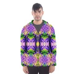 Green,purple Yellow ,goa Pattern Hooded Wind Breaker (Men)