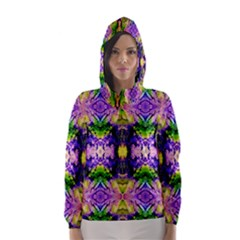 Green,purple Yellow ,goa Pattern Hooded Wind Breaker (Women)