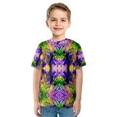 Green,purple Yellow ,goa Pattern Kid s Sport Mesh Tees