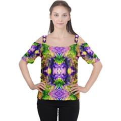 Green,purple Yellow ,goa Pattern Women s Cutout Shoulder Tee