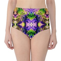 Green,purple Yellow ,goa Pattern High Waist Bikini Bottoms