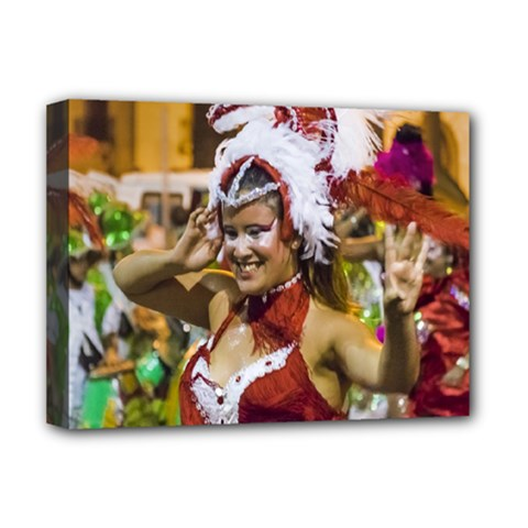 Costumed Attractive Young Woman Dancer At Carnival Parade Of Uruguay Deluxe Canvas 16  x 12
