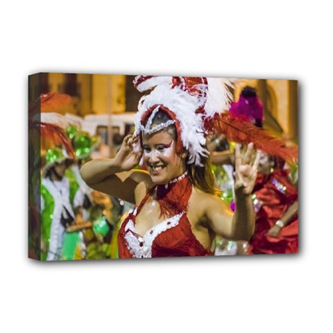 Costumed Attractive Young Woman Dancer At Carnival Parade Of Uruguay Deluxe Canvas 18  x 12