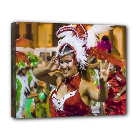 Costumed Attractive Young Woman Dancer At Carnival Parade Of Uruguay Deluxe Canvas 20  x 16