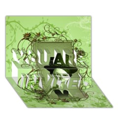 Cute Girl With Steampunk Hat And Floral Elements YOU ARE INVITED 3D Greeting Card (7x5)