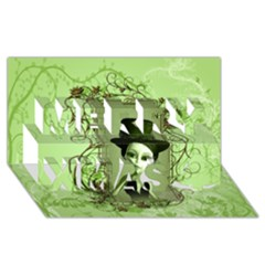 Cute Girl With Steampunk Hat And Floral Elements Merry Xmas 3D Greeting Card (8x4)