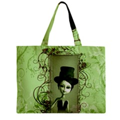 Cute Girl With Steampunk Hat And Floral Elements Tiny Tote Bags