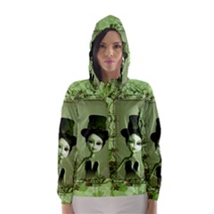 Cute Girl With Steampunk Hat And Floral Elements Hooded Wind Breaker (Women)