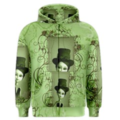 Cute Girl With Steampunk Hat And Floral Elements Men s Zipper Hoodies