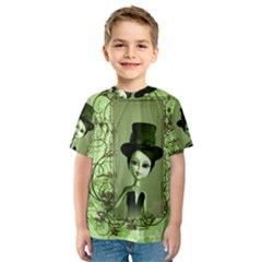 Cute Girl With Steampunk Hat And Floral Elements Kid s Sport Mesh Tees