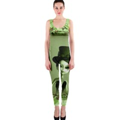 Cute Girl With Steampunk Hat And Floral Elements OnePiece Catsuits