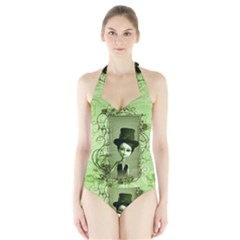 Cute Girl With Steampunk Hat And Floral Elements Women s Halter One Piece Swimsuit
