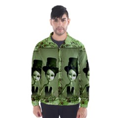 Cute Girl With Steampunk Hat And Floral Elements Wind Breaker (Men)