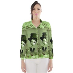 Cute Girl With Steampunk Hat And Floral Elements Wind Breaker (women)