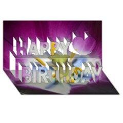 Purple Beauty Happy Birthday 3D Greeting Card (8x4)