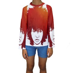 Nappyheads Logo Red Kid s Long Sleeve Swimwear