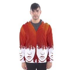 Nappyheads Logo Red Hooded Wind Breaker (Men)