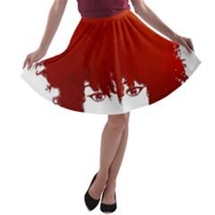 Nappyheads Logo Red A-line Skater Skirt