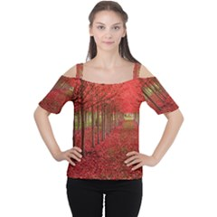 AVENUE OF TREES Women s Cutout Shoulder Tee