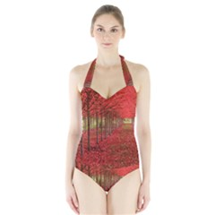 AVENUE OF TREES Women s Halter One Piece Swimsuit