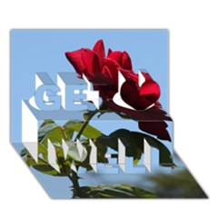 RED ROSE 2 Get Well 3D Greeting Card (7x5)