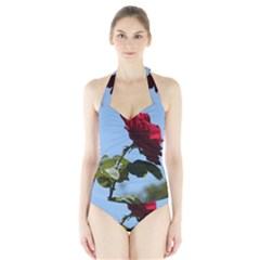 RED ROSE 2 Women s Halter One Piece Swimsuit
