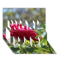RED ROSE 1 WORK HARD 3D Greeting Card (7x5)