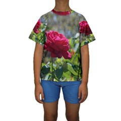 RED ROSE 1 Kid s Short Sleeve Swimwear
