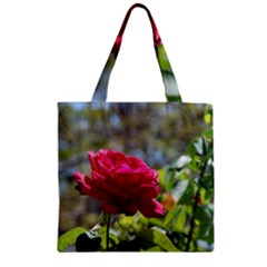 Red Rose 1 Zipper Grocery Tote Bags