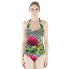 Red Rose 1 Women s Halter One Piece Swimsuit