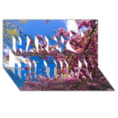 PINK FLOWERS Happy Birthday 3D Greeting Card (8x4)