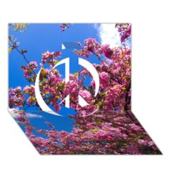 PINK FLOWERS Peace Sign 3D Greeting Card (7x5)