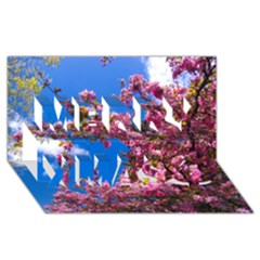 PINK FLOWERS Merry Xmas 3D Greeting Card (8x4)