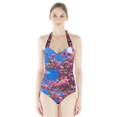 PINK FLOWERS Women s Halter One Piece Swimsuit