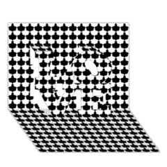 Black And White Scallop Repeat Pattern LOVE 3D Greeting Card (7x5)