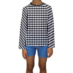 Black And White Scallop Repeat Pattern Kid s Long Sleeve Swimwear